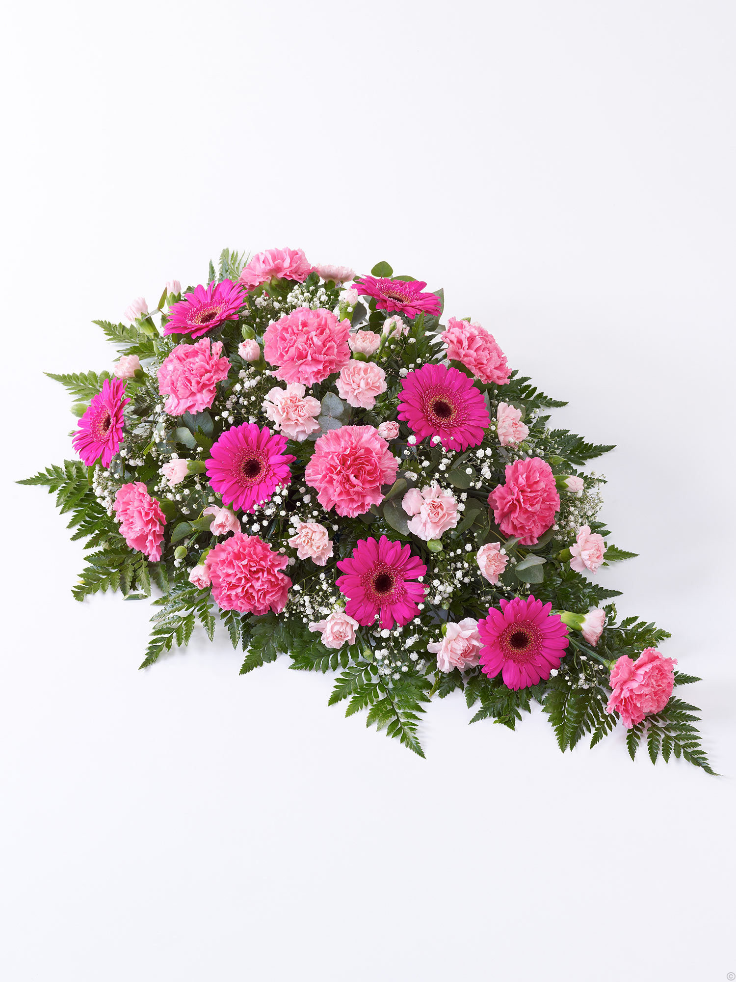 Funeral flowers cork funeral flowers from mimosaflowers carnation and germini teardrop spray pink izmirmasajfo