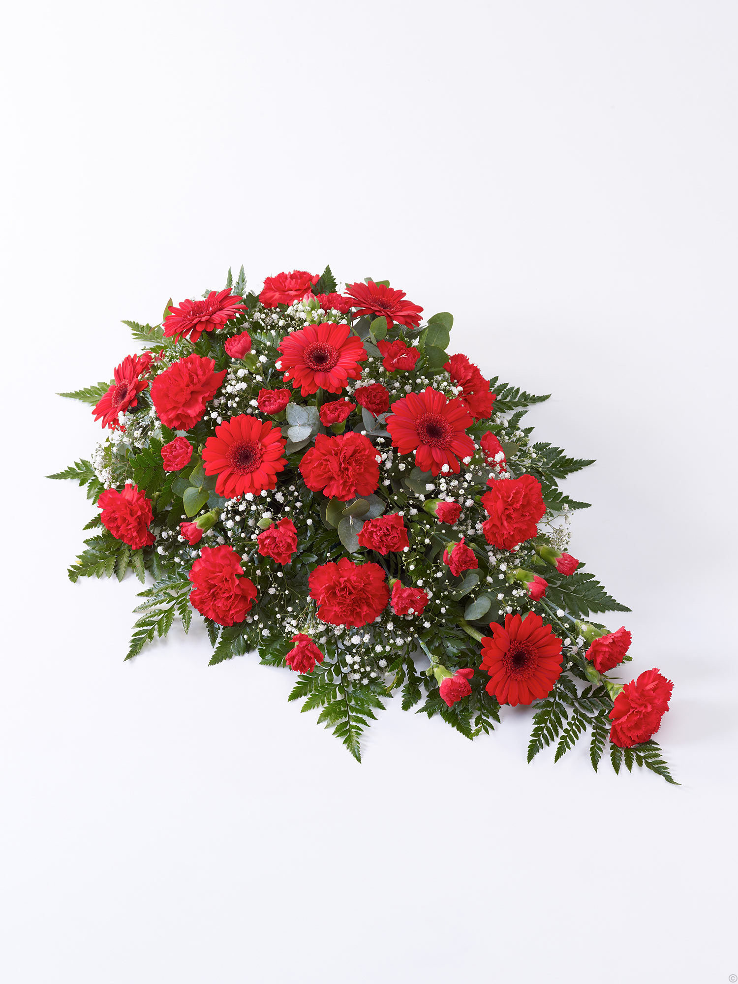 Funeral flowers cork funeral flowers from mimosaflowers carnation and germini teardrop spray red izmirmasajfo Image collections