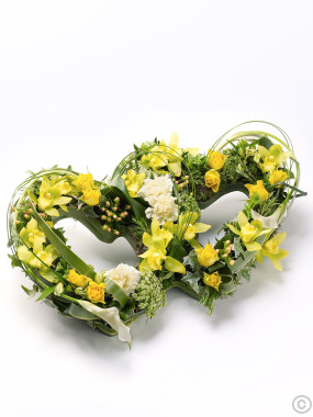 Double Heart Tribute Yellow