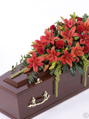Lily and Rose Casket Spray Red