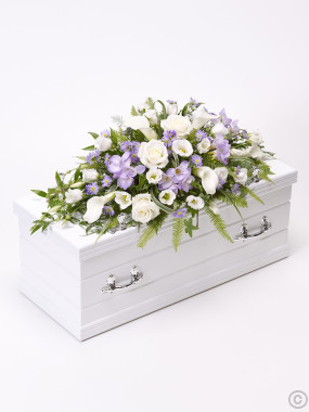 Children's Casket Spray Blue & Lilac