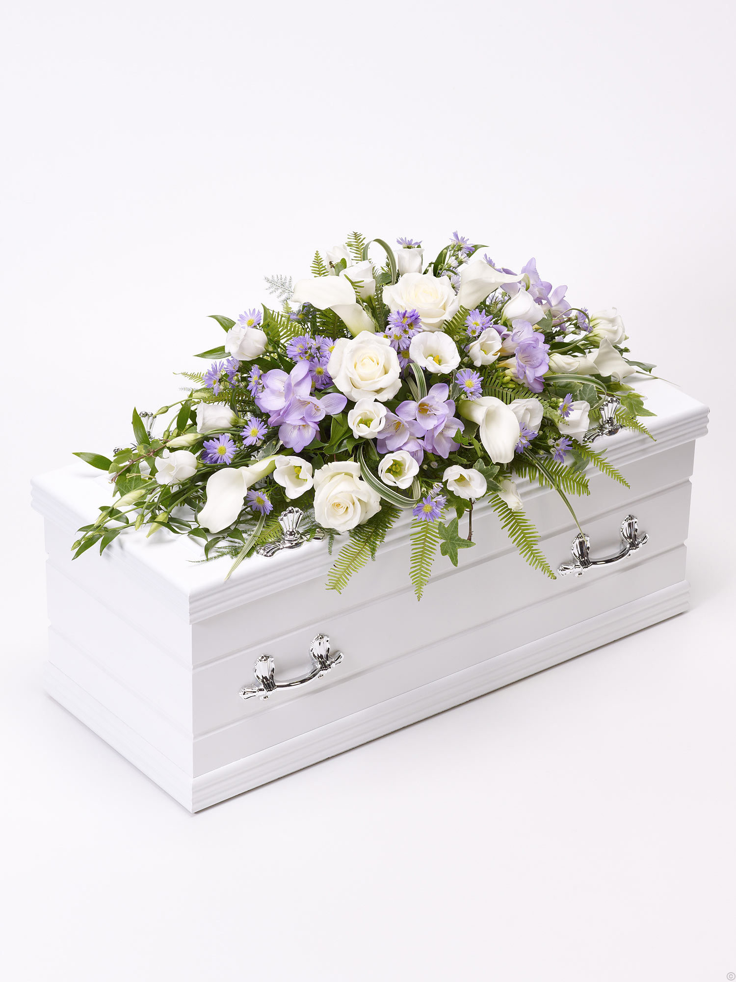 children s casket spray blue lilac from flowers ie